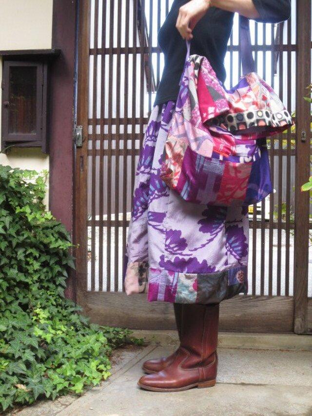 sk様ご注文品銘仙と大島紬で斜め掛けママさんショルダーの画像1枚目