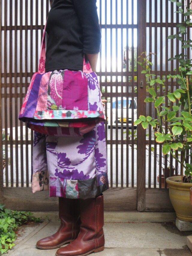 sk様ご予約品☆銘仙と紬地でレトロでキュートな斜め掛けバッグの画像1枚目