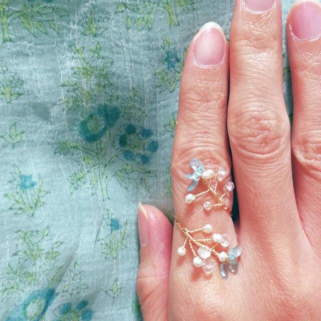 光の芽吹きの指飾り☆ メヘンディリング アパタイトツイスト サイズフリー (9~14)国内から発送☆の画像1枚目