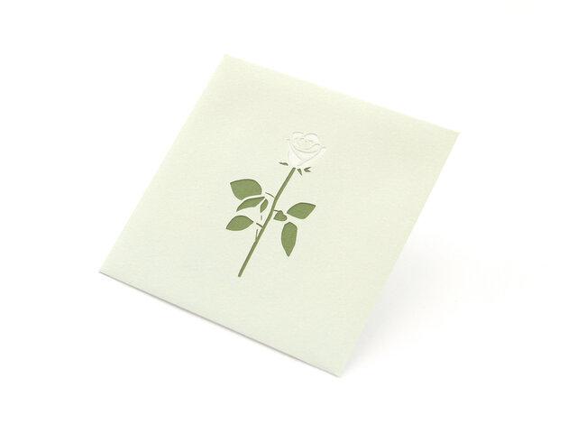 【切り絵のぽち袋】 薔薇・白(大サイズ) 2枚セットの画像1枚目
