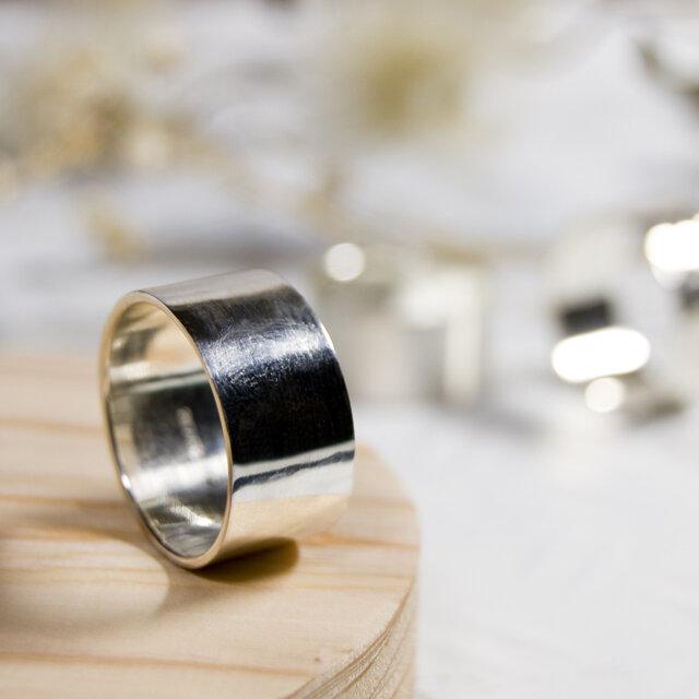 鏡面 シルバーフラットリング 10.0mm幅 ミラー シルバー950|SILVER RING 指輪 シンプル|228の画像1枚目