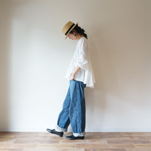 ◯予約商品◯French linen gather blouse OFF/Wの画像1枚目
