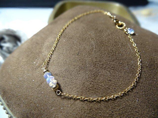 【K14gf】宝石質エチオピア産オパールの3ストーンブレスレットの画像1枚目