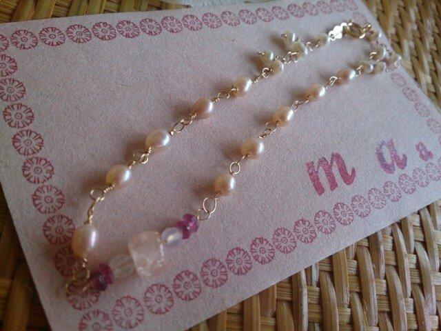 K14GF モルガナイト淡水真珠のブレスレットの画像1枚目