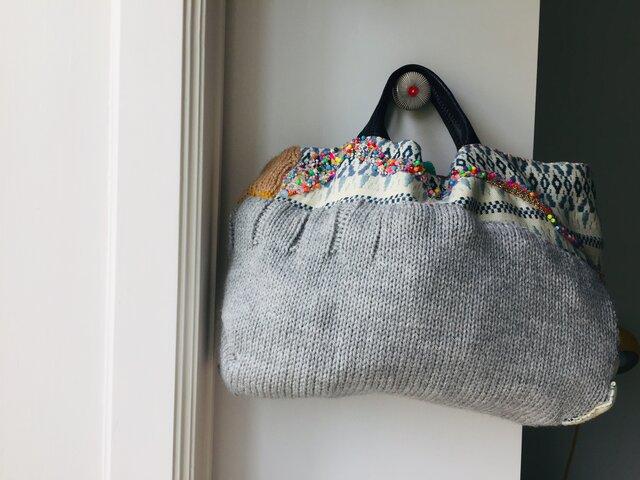 1033 バッグ 手縫い ハンドメイド 刺繍 ビーズ 刺し子の画像1枚目