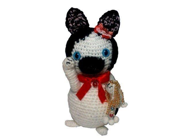 手編み招き猫 手作りのあみぐるみL001(ニット人形)の画像1枚目