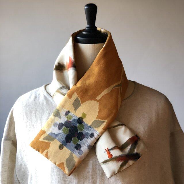 銘仙×コットン刺繍の小さな襟巻き2015 ストール ネックウォーマー プチマフラー リバーシブル 着物リメイクの画像1枚目