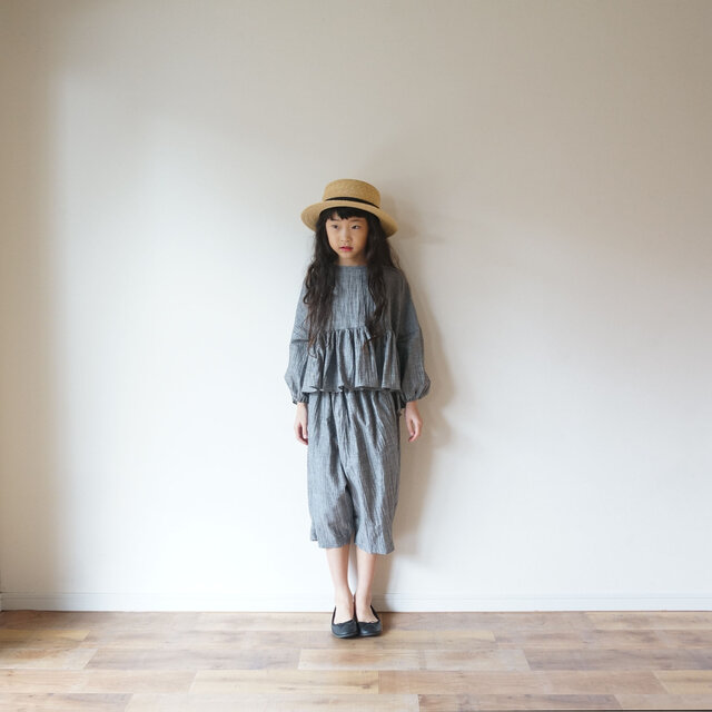 Linen washers gather blouse GRAY kids 1(80cm~),2(100cm~)sizeの画像1枚目