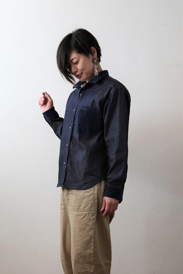 【ユニセックス】サンデーシャツ/デニム×インディゴクレリックシャツの画像1枚目