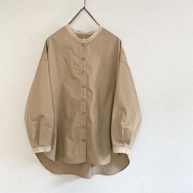 透けpointのあるコットンワッシャーシャツ[mocha]の画像1枚目