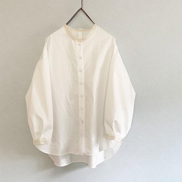 透けpointのあるコットンワッシャーシャツ[off-white]の画像1枚目