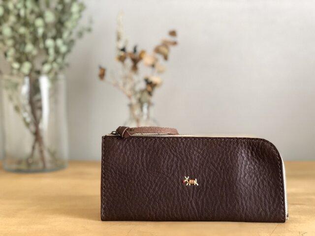 【期間限定送料無料】栃木レザー手縫い スリムな財布 (焦茶)   の画像1枚目