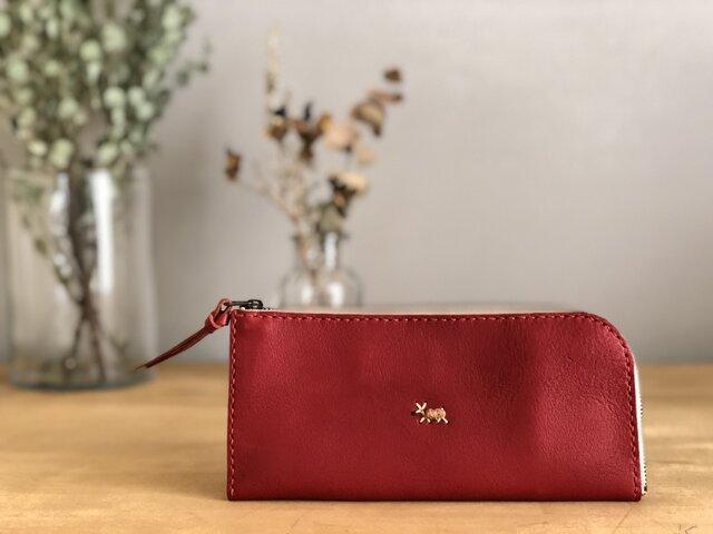 【期間限定送料無料】栃木レザー手縫い スリムな財布 (赤)   の画像1枚目