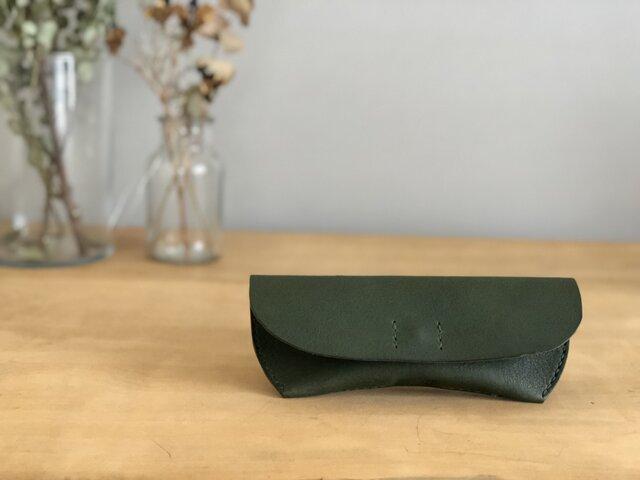栃木レザー 手縫いのメガネケース(緑)の画像1枚目