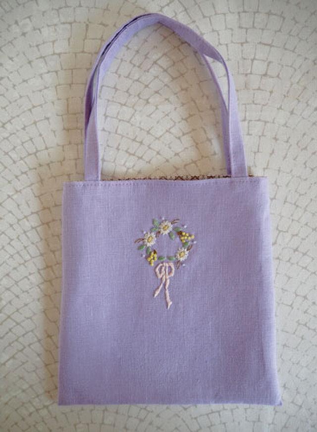 お花のリースの手さげバッグ・Purpleの画像1枚目