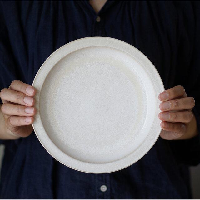 ダブルリムプレート 21cm(パール釉)【8月頃に発送予定】の画像1枚目
