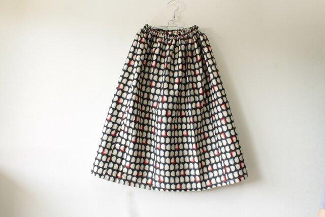 ☆銘仙着物スカート☆黒×白♪【再販】/31ks76の画像1枚目