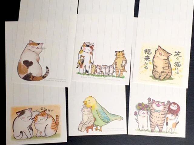 一筆便箋「縦書き用・招福猫ミックス」の画像1枚目