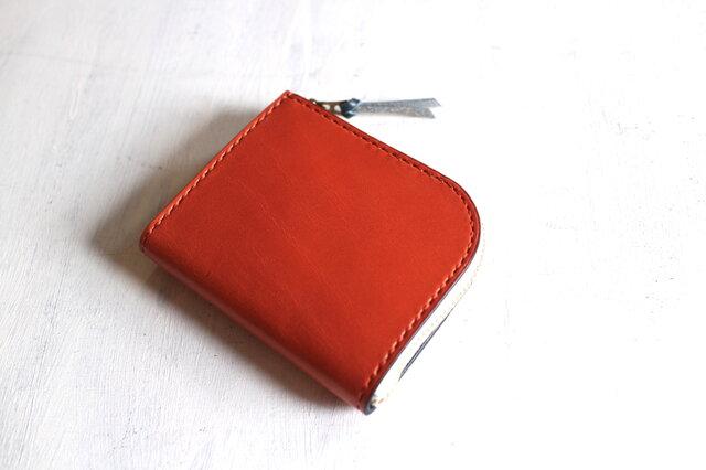 【一点物即納品】L字ファスナー小さい財布 ~栃木アニリンオレンジ×栃木アニリン青~の画像1枚目