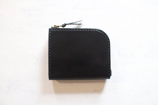 【受注生産品】L字ファスナー小さい財布 ~栃木ブラックサドル オールブラック~の画像1枚目