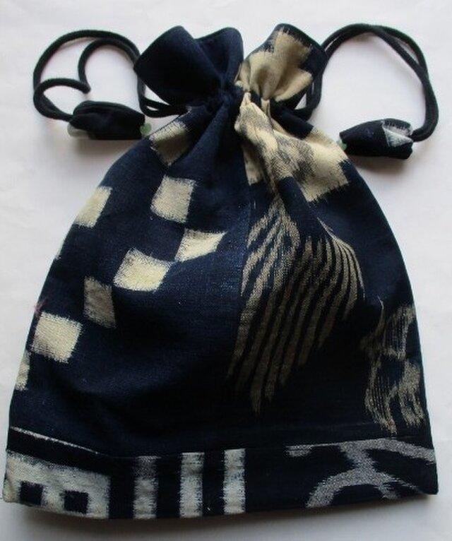 4806 久留米の絵絣で作った巾着袋 #送料無料の画像1枚目