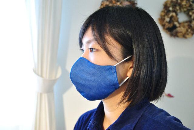 立体マスク×藍染 綿100% 4重構造の画像1枚目