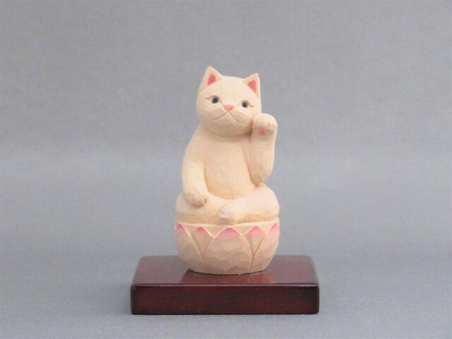 木彫り 左手で招き猫 猫仏2004の画像1枚目