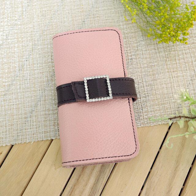 iphone8プラス/ X /11各種 牛革 くすみピンク 手帳型スマホケース ラインストーンバックル スクエアの画像1枚目