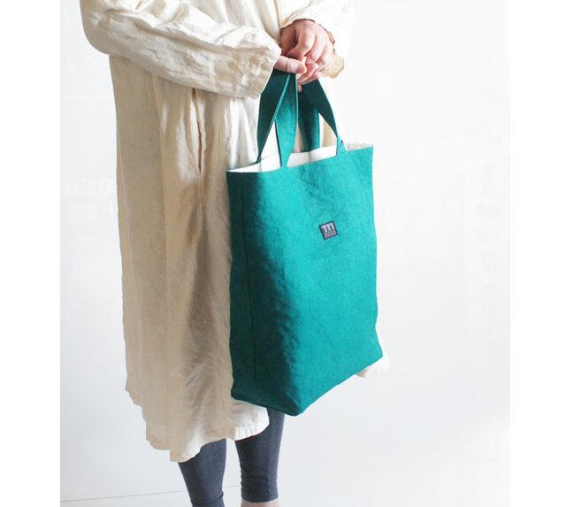 リネン帆布縦型トートバッグの画像1枚目