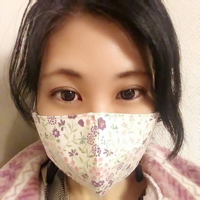 【お家用快適マスク】息がしやすいコットン100%お花柄と不織布ダブルフィルター芯を使った超立体形状記憶シンプルマスク パープルの画像1枚目