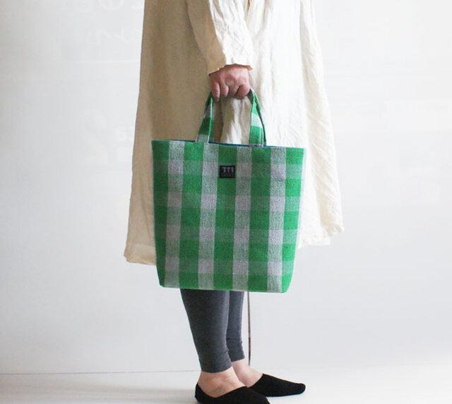 手織りリネンたて型トートバッグの画像1枚目