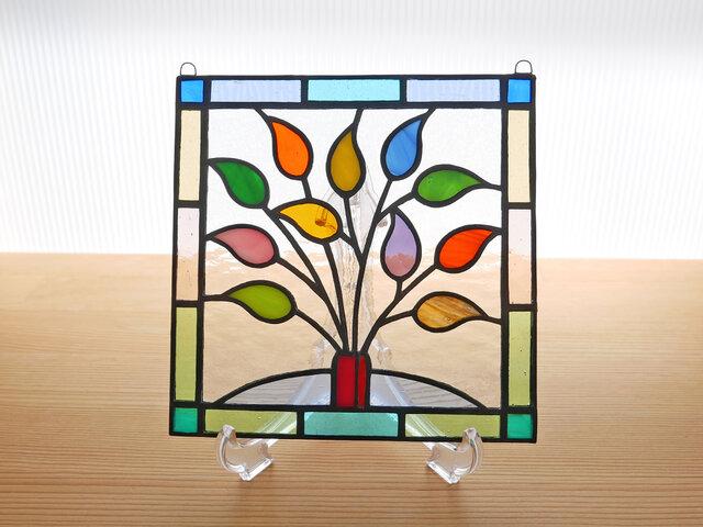 ステンドグラス ミニパネル リーフ 15cmの画像1枚目