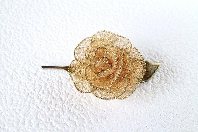 薔薇のブローチ(一葉・ゴールド)の画像1枚目