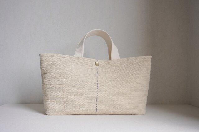 裂き織りのバッグ ミルクベージュの画像1枚目