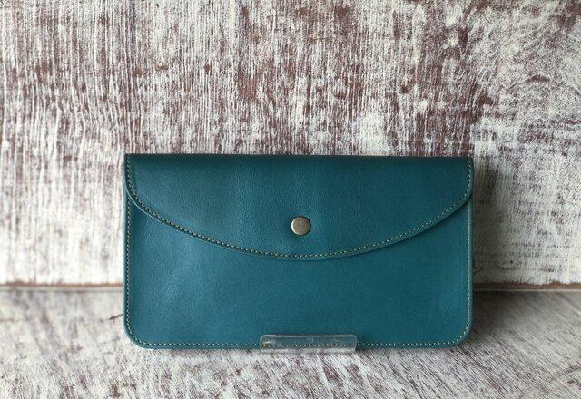 長財布  (非常に程よいサイズの財布です。) 青緑の画像1枚目