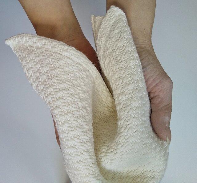 手織りハンカチ 汗をしっかり吸収してくれるコットンハンカチ ホワイトの画像1枚目