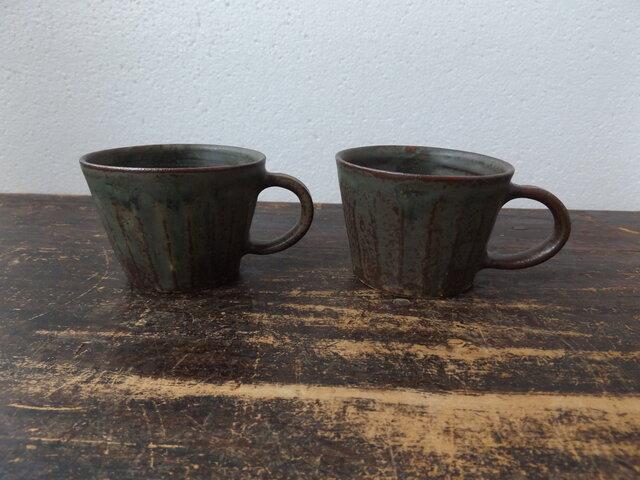 深緑面取りマグカップ の画像1枚目
