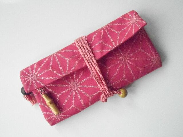道中財布 ロールバッグ オックス濃いピンク製 麻の葉 銀の画像1枚目