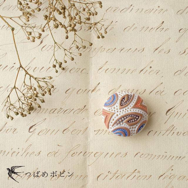 チェコ製ガラスボタンの帯留◎ペイズリー/カラー【送料無料】の画像1枚目