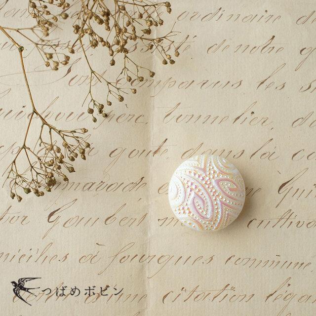 チェコ製ガラスボタンの帯留◎ペイズリー/オーロラホワイト【送料無料】の画像1枚目