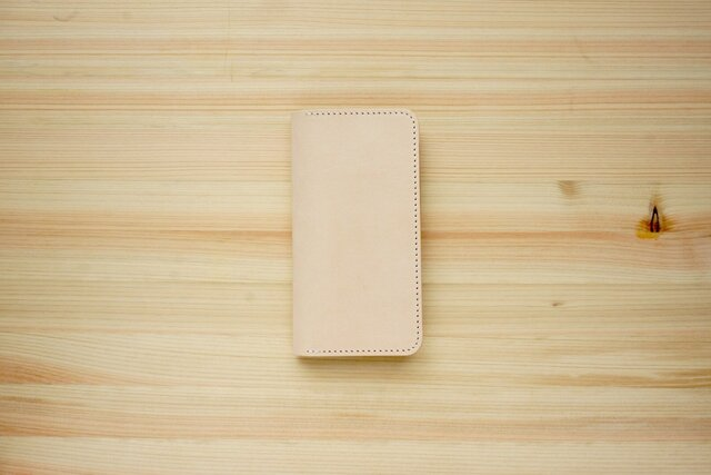 牛革 iPhoneSE2 カバー  ヌメ革  レザーケース  手帳型  ナチュラルカラーの画像1枚目