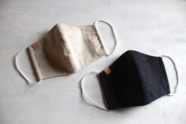 《納期5日程・送料無料》立体セルビッチデニムマスク 1枚 革タグイニシャル刻印可能の画像1枚目