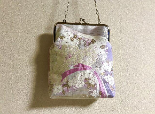 ★御朱印ケース がま口タイプ  ピンク×パープル桜の花束柄帯地 ★の画像1枚目
