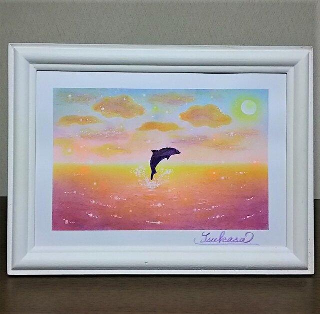 海とイルカのパステルアート トワイライト・ドルフィンの画像1枚目