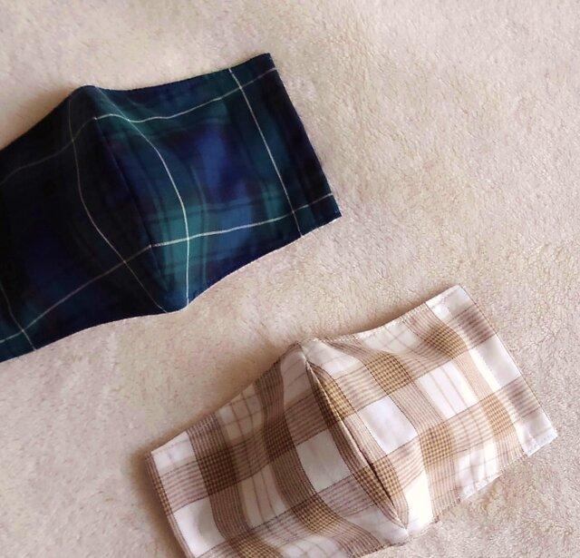 英国紳士 マスク (2枚組) ブラックウォッチ&カフェオレ(コットン・リネン)フィルターポケット付きの画像1枚目
