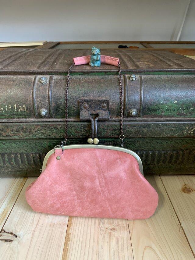 『受注制作品』がまぐち親子財布ポーチ 牛革 くすみピンク の画像1枚目