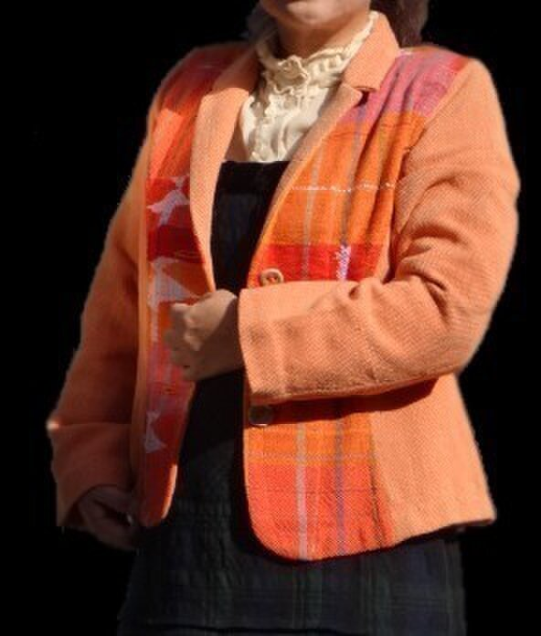 さをり織りオレンジ色ジャッケットの画像1枚目