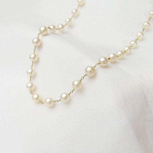 無調色あこや真珠5mm手巻き加工ネックレス K18の画像1枚目