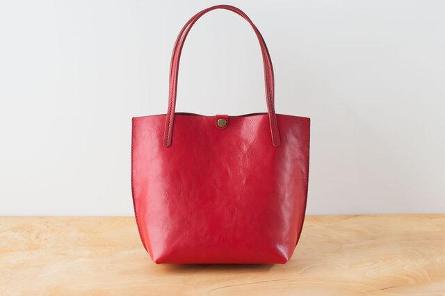 日本製牛革手縫いの小型トートバッグ  /  レッドの画像1枚目