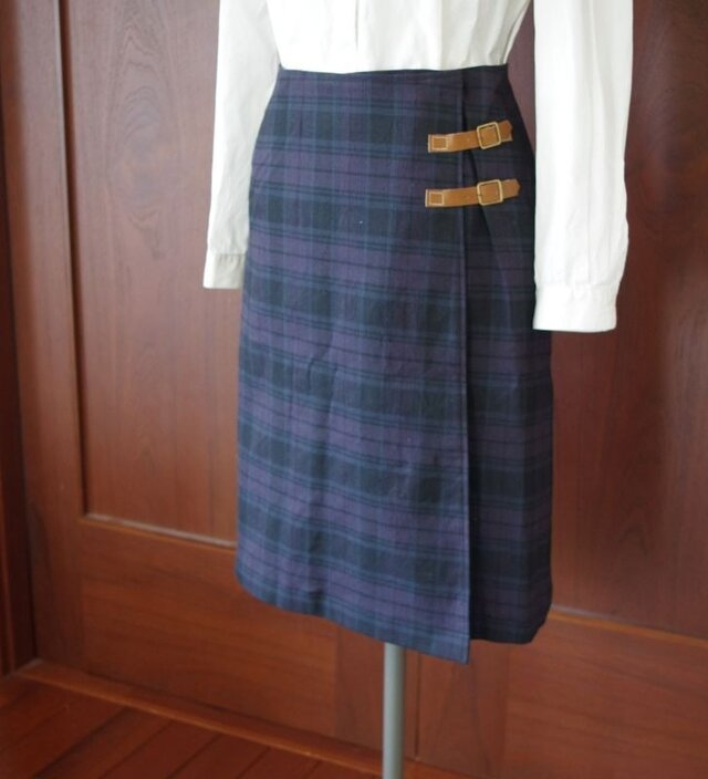 ウールミックスキルトスカートの画像1枚目
